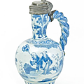 Narrow-necked jug with chinoiserie. presumably hanau. circa 1700