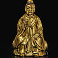 A gilt-bronze figure of a daoist deity, ming dynasty, 15th-16th century