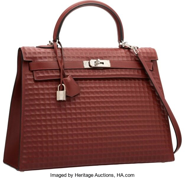 c9a30644b9a0 Hermàs Limited Edition 35cm Rouge H Calf Box Leather Waffle Kelly Bag with  Palladium Hardware I Square