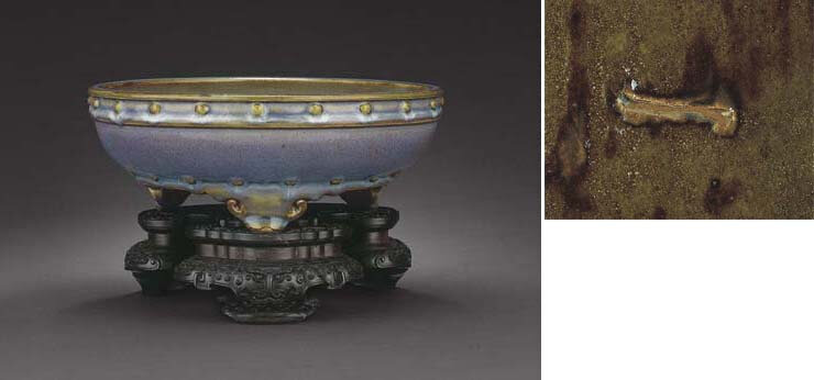 A very rare large 'numbered' Junyao tripod narcissus bowl, Northern Song dynasty (960-1127)