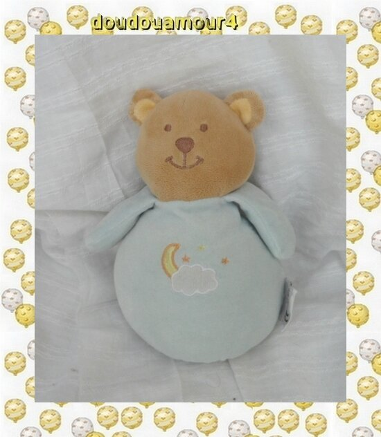 Doudou Musical Ours Bleu Broderie Nuage Lune Etoile AMTOYS