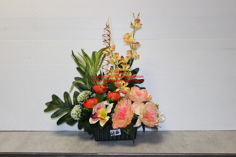 jardinière de fleurs artificielles cimetière belle qualité (38)