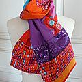 Echarpe orange/violet 39 euros