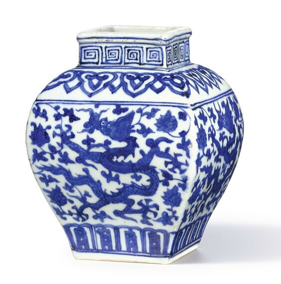 A blue and white facetted 'dragon' jarlet, mark and period of Jiajing (1522-1566)