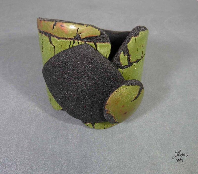 Bracelets raku vert olive