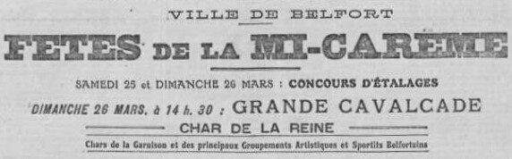 Fêtes de Mi-carême 1922 à Belfort, le sommaire