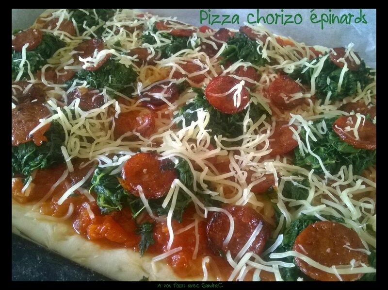 Pizza chorizo épinards