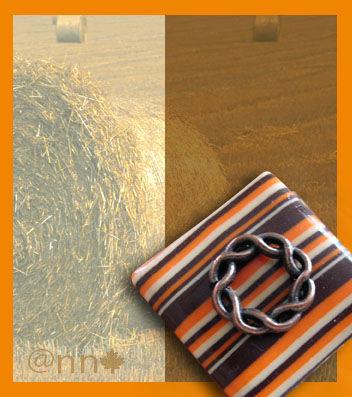 Bague FIMO carré rayé chocolat orange et cuivre