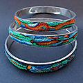 Bracelets en pâte polymère et métal argenté