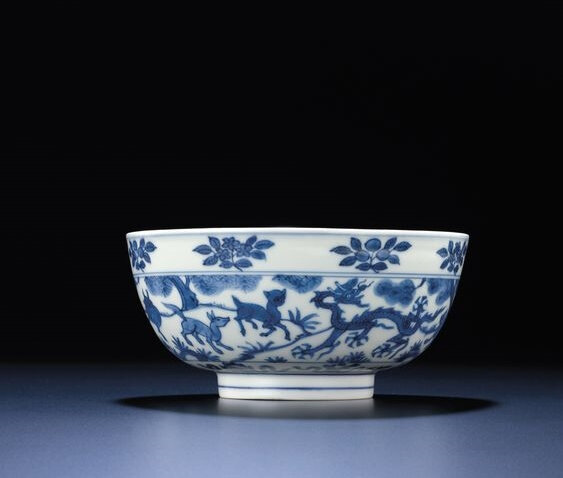 A fine and very rare blue and white 'mythical beast' bowl, Wanli six-character mark within double-circles and of the period (1573-1619)