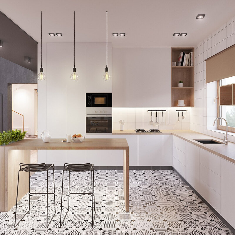 eclectic-kitchen-drop-lighting-honeycomb-tiling