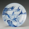 A blue and white 'wild geese' dish, qing dynasty, kangxi period (1662-1722)