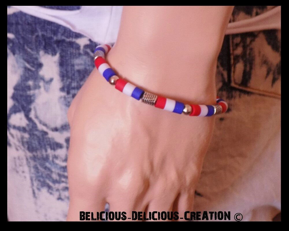 Original Bracelet sufer Homme !! RED WHITE BLUE !! en Metal silicone plastique. T: 20cm adjustabe T: 25cm BELICIOUS-DELICIOUS-