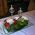 COMPOSITION POUR UN chemin de table fleurs