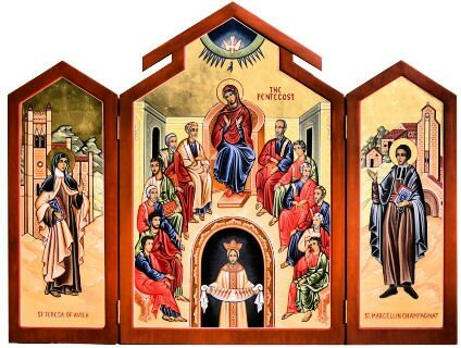 Icon_20Triptych_20of_20Pentecost_20and_20Sts_20Teresa_20of_20Avila_20and_20St_20Marcellin_20Champagnat
