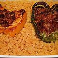 Poivrons et courgettes farcis, riz ou lentilles corail