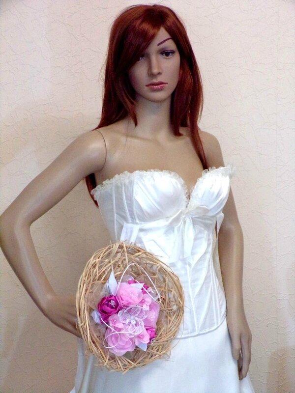 Bouquet de mariée rond fleurs Orchidée rose blanc