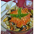 Tagliatelles aux légumes grillés, sauce aux poivrons et parmesan