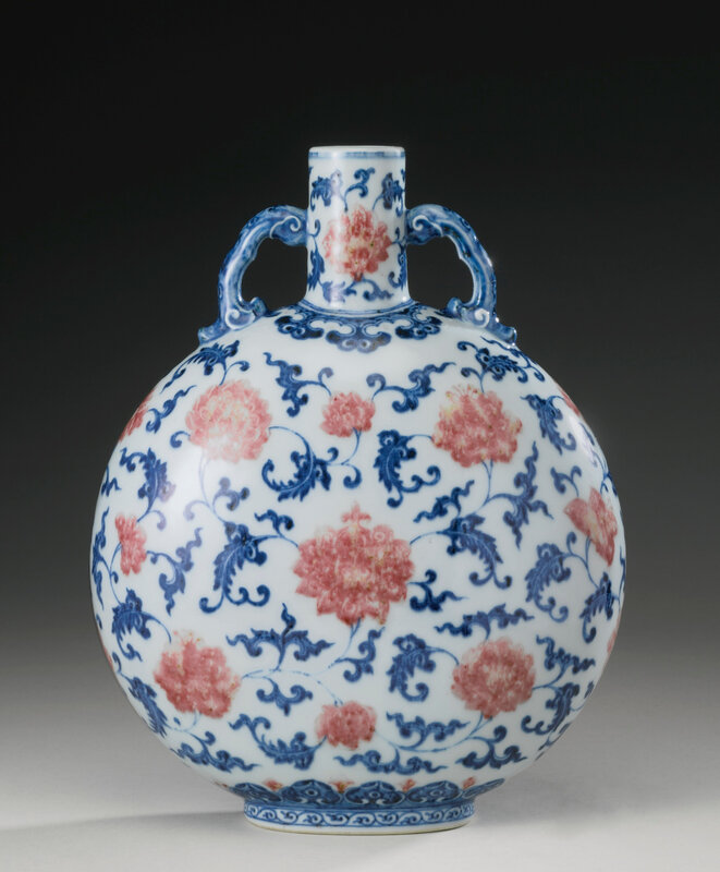 A copper-red and underglaze-blue moonflask, Qing dynasty, 18th century1