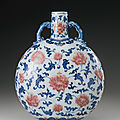 A copper-red and underglaze-blue moonflask, qing dynasty, 18th century