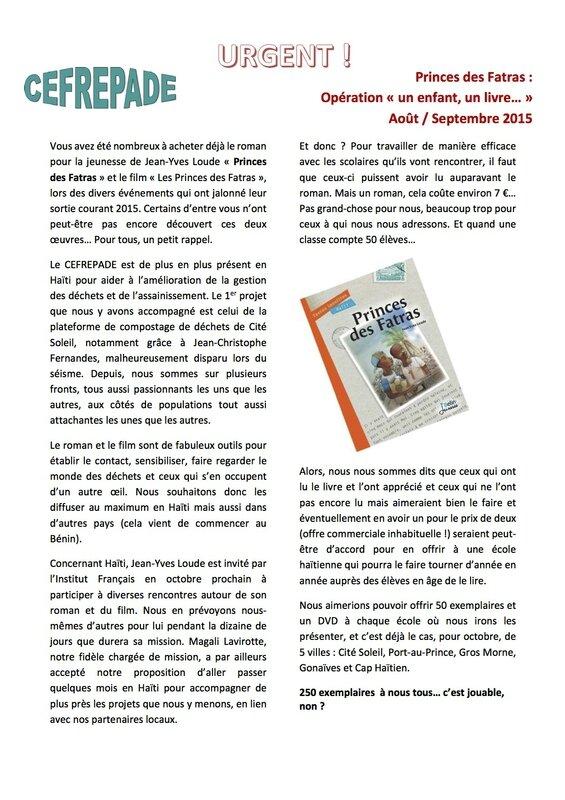 Haiti Operation Un Enfant Un Livre Livres Et Palabres