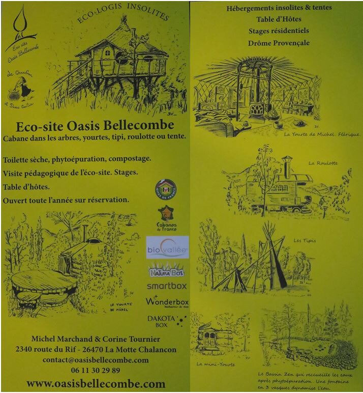 flyer ecosite bellecombe camping nature habitat insolite