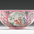 A pink-ground famille-rose 'medallion' bowl, daoguang seal mark and period (1821-1850)