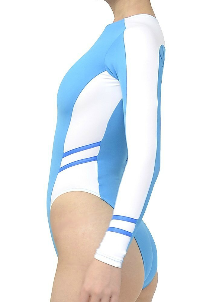 highleg long-sleeved swimsuits n-015 Blue & white profil