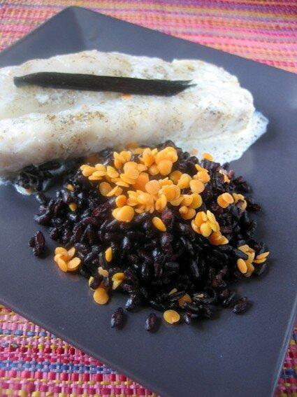 Papillotes de turbot à la vanille, riz noir et lentilles corail (Les gamelles d'Emmanuèle)