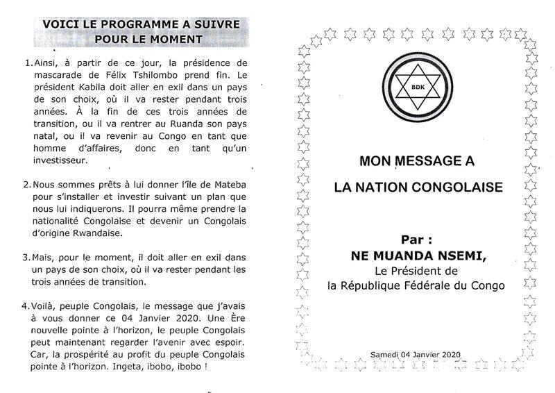 MESSAGE A LA NATION 1