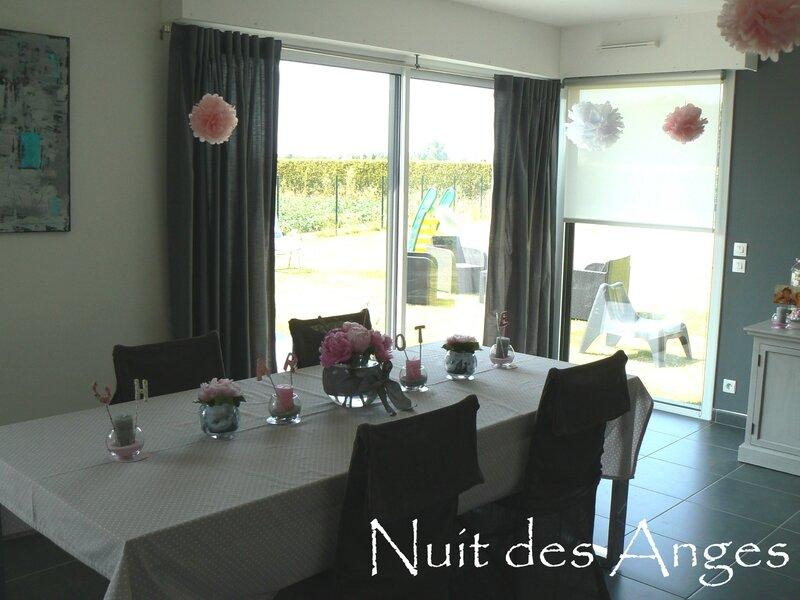 Nuit des anges décoratrice décoration de table baptême rose et gris 003