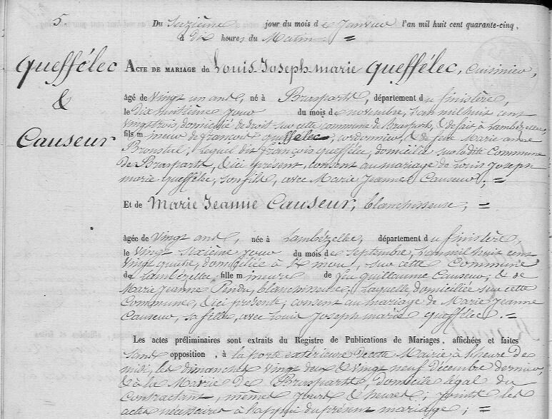 1845 à Lambezellec mariage Queffelec Causeur_1