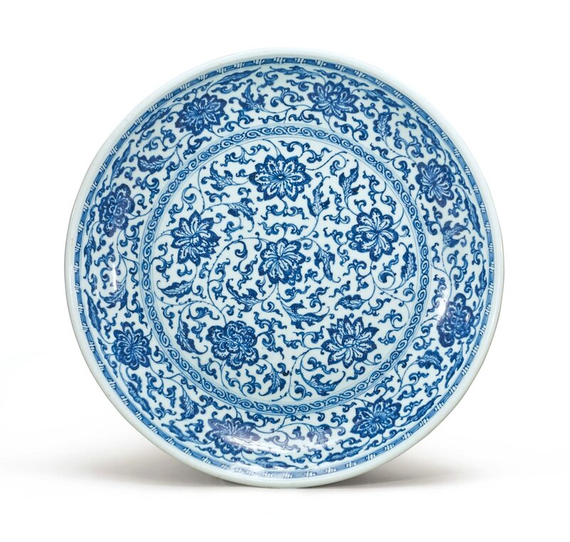 A blue and white Ming-style dish, Qing dynasty, 18th century