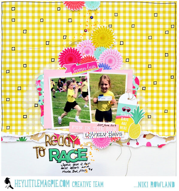Ready to Race Niki Rowland Hey Little Magpie Echo Park Best Summer Ever Scrapbooking