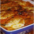 Gratin d'aubergines, sa sauce tomate au parmesan et sa mozzarella gratinée