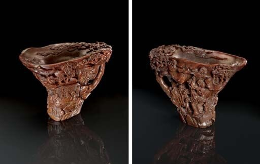 A_finely_carved_rhinoceros_horn_libation_cup__17th_18th_century