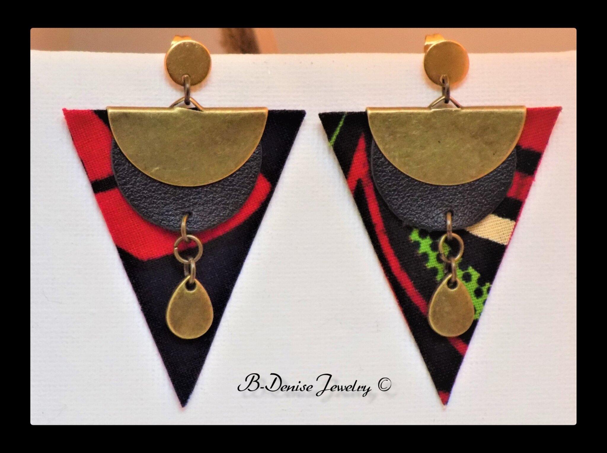 Boucles d'oreilles originales artisanales en cire de tissu !! DARK MOON !! Multi. en coton Laiton, T: 3,5 cm x 5cm B-Denise