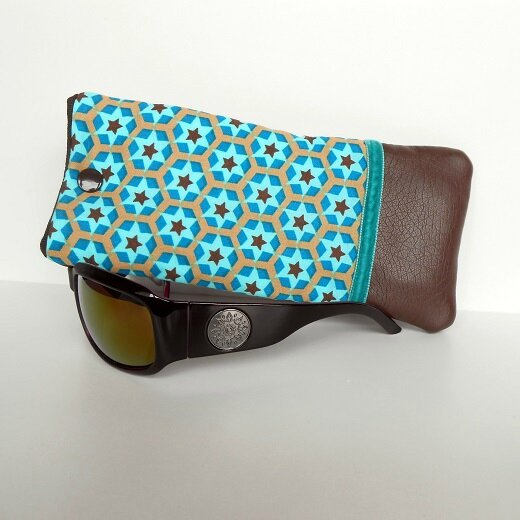 Etui lunettes étoiles choco-turquoise1