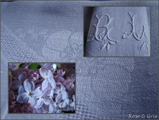 serviettes lin damassé et lilas