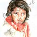 carte n° 7 - petite fille écharpe rouge
