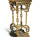 A gilt and painted brown lacquer stand, qing dynasty, qianlong period (1736-1795)