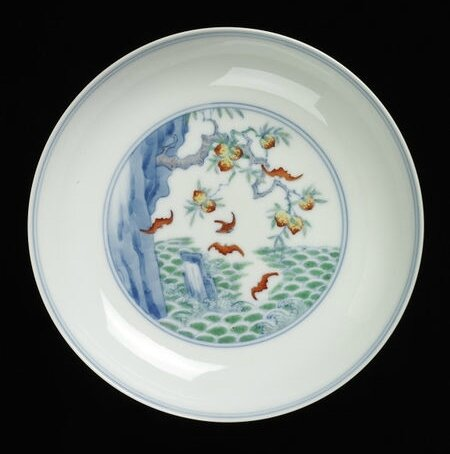 Dish, porcelain painted with bats and peaches in enamels, China, Yongzheng mark and period, 1723-1735