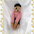 Doudou peluche ours pirate haut rayures rouge longs bras junior loisirs