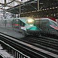 Shinkansen E5 + E5 in snow, Kôriyama eki