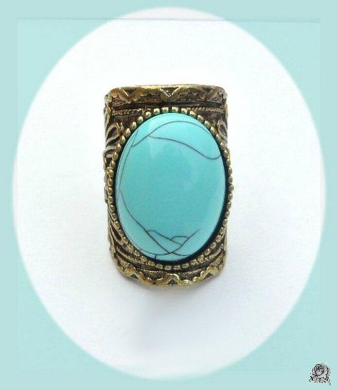 Bague Style Vintage Cléa Perle Turquoise Métal Couleur Bronze Taille 50_51