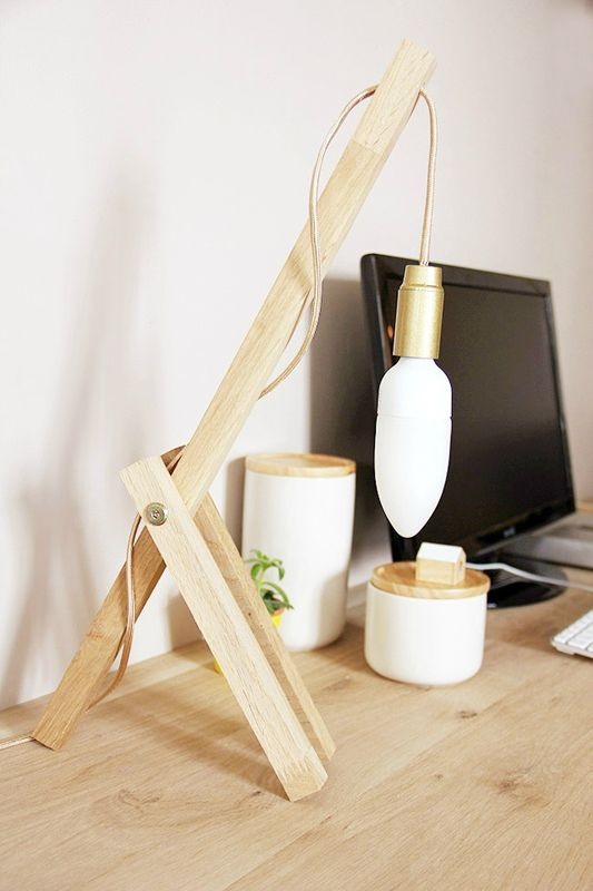 diy une lampe de table en bois t te d 39 ange. Black Bedroom Furniture Sets. Home Design Ideas