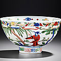 A wucai 'figures' deep bowl, Wanli six-character mark within double circles and of the period (1573-1619)