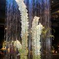 colonne d'eau et fleurs