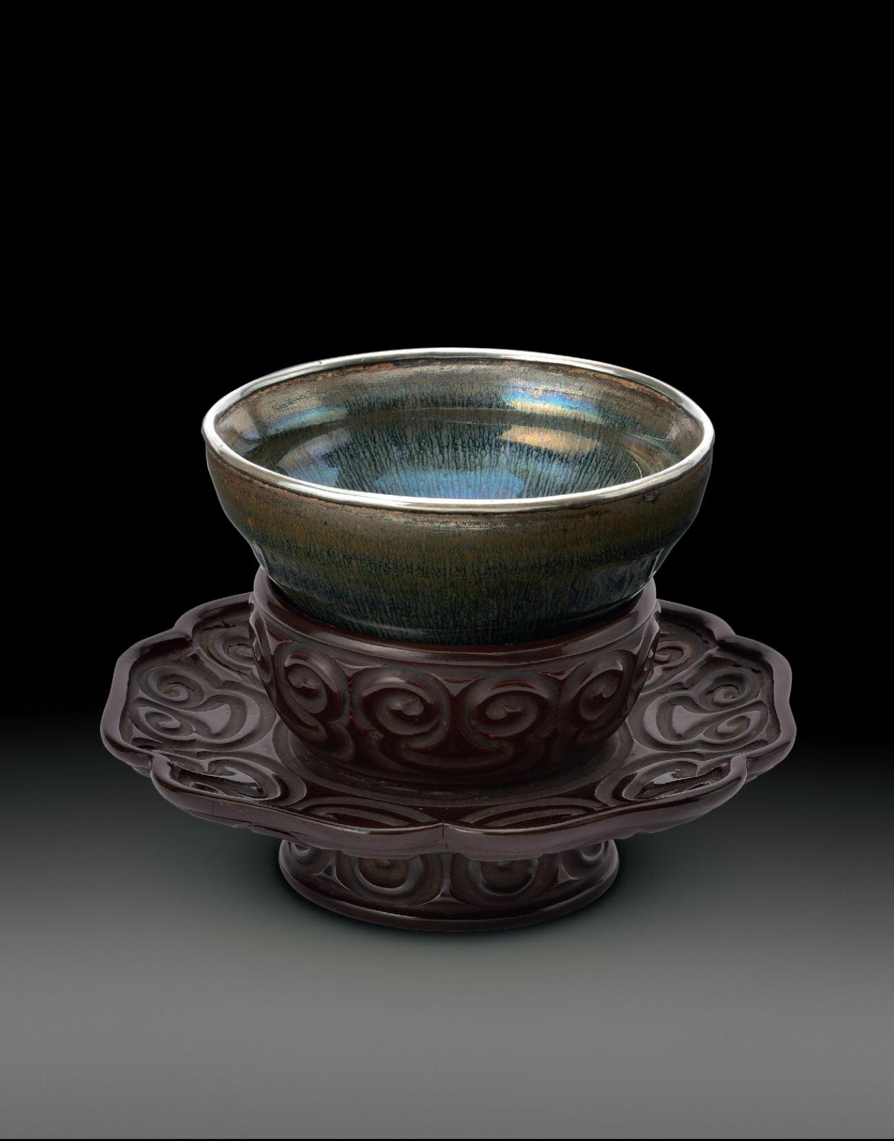 An exceptional Jianyao 'Hare's fur' tea bowl and atixilacquer stand bowl, Southern Song dynasty (1127-1279); lacquer stand, Southern Song-Yuan dynasty, 12th-13th century