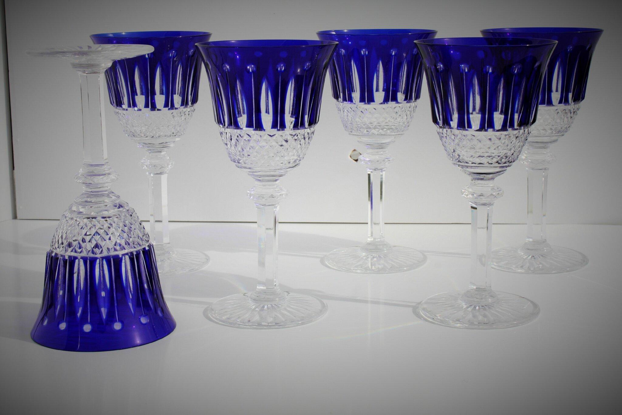 Verres à vin de Bourgogne n°3 St Louis Tommy en cristal doublé bleu cobalt